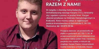 Trwa zbiórka krwi dla 13-letniego Kacpra. Walczy z ostrą białaczką